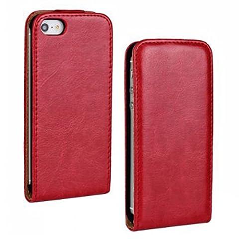Etui iPhone 4 Coque iPhone 4s Pochette Portefeuille en Cuir Véritable Coque de Protection pour Housse Apple iPhone 4/4s Avec – Red /