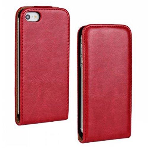 iPhone 5 hülle, iPhone se Holster hülle Flip nach oben und unten Handy hülle Premium PU Leder Tasche Flip Case Etui Handy Schutz Hülle für Apple iPhone 5 / 5s se - Rot (Tasche Unten)