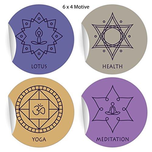 24 elegante Yoga Aufkleber mit edlen Symbolen