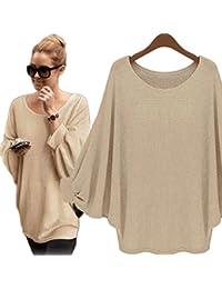 Nlife Womens übergroße Fledermaus Strick Pullover Lose Sweater T-Shirts