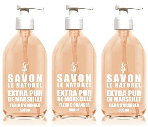 Savon le Naturel - Extra Pur de Marseille à la Fleur d'Oranger - 500 ml - Lot de 3