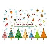 Winhappyhome Bunte Weihnachtsbaum FußLeisten Wand Kunst Aufkleber für Schlafzimmer Wohnzimmer Fernsehhintergrund Glasfenster TüR Hintergrund Entfernbare Dekor Abziehbilder