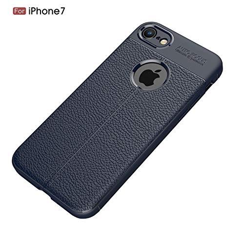Preisvergleich Produktbild Alsoar ersatz für iPhone 8 Plus Hülle, Ultra Dünn Weich TPU Silikon iPhone 7 Plus Handyhülle Anti-Scratch Stoßfest Flexibel Litschi-Muster Leder Braun Case 360 Grad Schutzhülle (Blau)