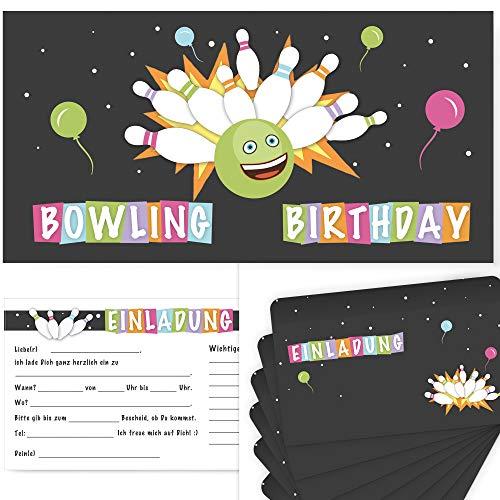 Postkartenschmiede 12 Bowling Einladungskarten Geburtstag Kinder Jungen, Kegeln Einladung, Geburtstagseinladungen Junge, Kegel-Einladungen, Mitgebsel, Kegel-Party, Bowlingparty