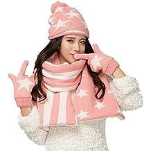 Vimeet Damen Warme Winter Mütze Schal Handschuh Set Wintermütze Gestrickt Beanie Mütze Wollmütze Strickmütze Earflap Hut Kappe Schnee Hüte Skimütze Bommelmütze Star