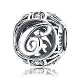 Charm-Anhänger Buchstabe C Sterling-Silber 925 Zirkonia für Armbänder und Halsketten