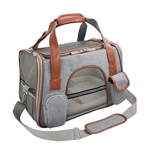 FLkENNEL Weiche Transporttasche für Katze und kleinen Hund,Faltbare Waschbar Faltba Handtasche Crossbody für kleine Haustiere, atmungsaktiver Gepäckträger für Zug-, Auto- oder Flugreisen,LightGray
