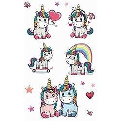 Xiton 8 pack unicornio tatuajes temporales para chicas mejores para unicornio suministros fiesta cotillón y unicornio unicornio metálico hermoso de cumpleaños y tatuajes de Pegasus