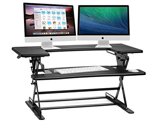 Halter ED-600 vormontierter Höhenverstellbarer Schreibtisch Sitz- / Standhöhe Desktop - Schwarz