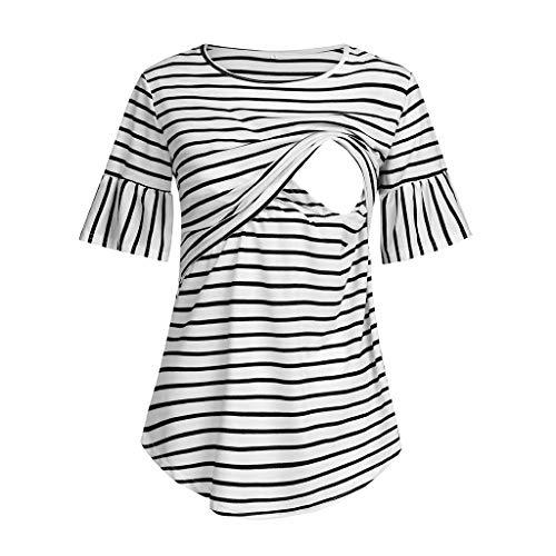 BfmyxgsAnti-Glare Women 's Schwangere Gestreifte Stillen Kurzarm-Shirt Schwangere Kurzarm