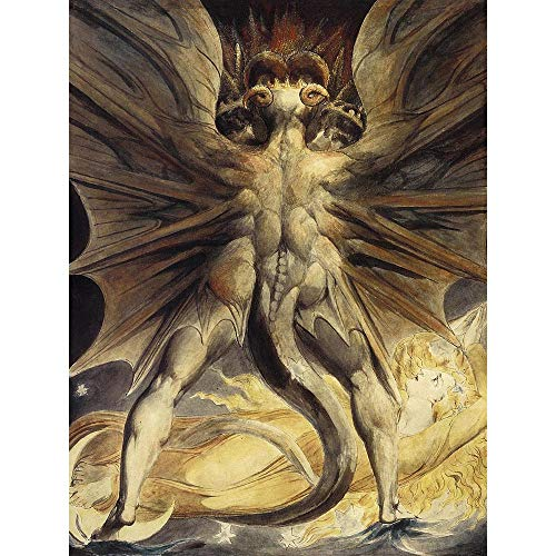 Wee Blue Coo LTD William Blake Red Dragon Woman Clothed Sun 1805 Old Painting Art Print Poster Wall Decor Kunstdruck Poster Wand-Dekor-12X16 Zoll
