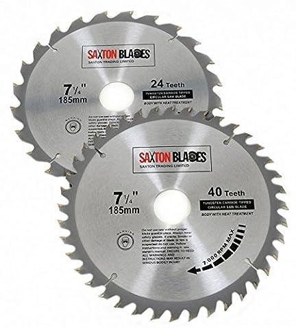 Saxton TCT185MXA Lot de 2 lames de scie circulaire à bois pour Bosch Makita Dewalt Pack A 185x 30mm