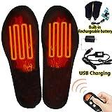 Qdreclod Semelles chauffantes avec télécommande sans fil et batterie rechargeable par USB pour homme et femme (L(EUR 41-46))