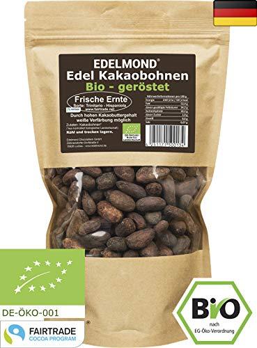 Edelmond FAIR TRADE geröstete Kakaobohnen. Bio Frisch. Grand Cru Qualität 500g - Röstung Kaffee-bohnen Dunkle Bio