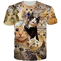 HWHColor 3d asustado camisa divertida del gato Camiseta gráfica superior a Parejas
