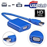 Pruthvik™USB to VGA Adapter, HD USB 3.0 to VGA Adapter External Video Card Multi Monitor Adapter Converter for Win 7 8 10 (Blue) - 2 Year Warranty With Pruthvik Enterprise