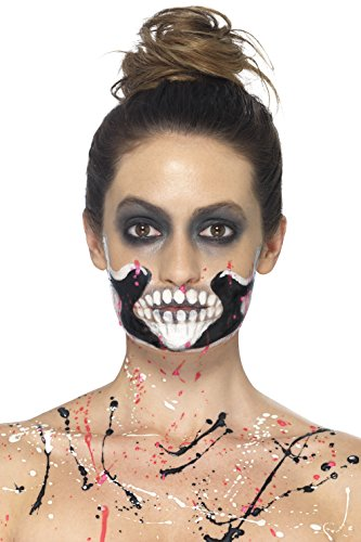 ett Make-Up Set, 4 Liquid Latex Töpfe und 4 Schaum Pinsel, bunt (Halloween-make-up-skelett Gesicht)