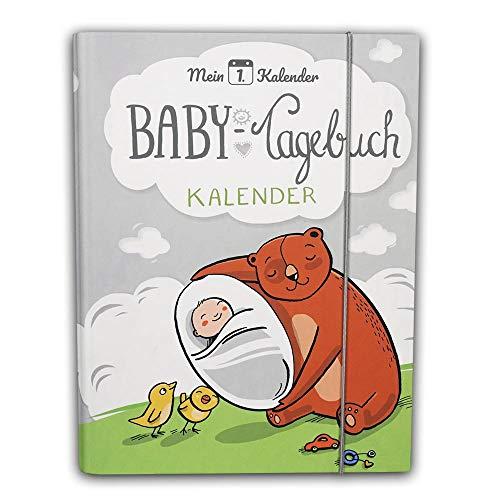Mein 1. Kalender Baby Tagebuch Babyalbum mit Entwicklungsberater Babyratgeber Geschenk zur Geburt 365 Tipps und Ratschläge A5 Grau