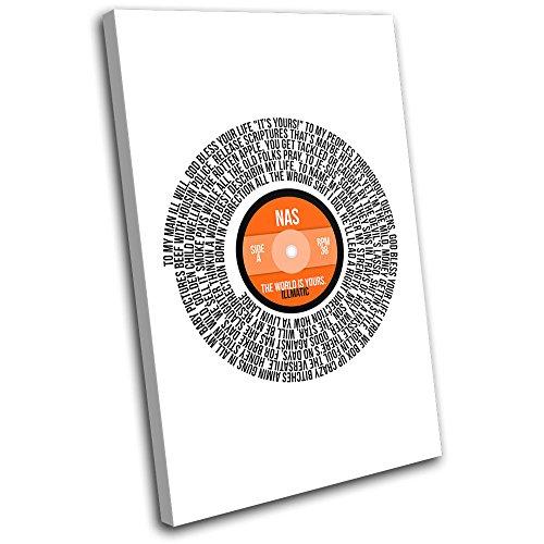 Bold Bloc Design - NAS The World Record Lyrics Vinyl Song Musical 75x50cm SINGLE Leinwand Kunstdruck Box gerahmte Bild Wand hangen - handgefertigt In Grossbritannien - gerahmt und bereit zum Aufhangen - Canvas Art Print