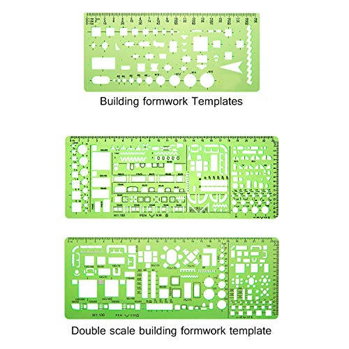 JZZJ 6 Pieces Plastic Measuring Templates Building Formwork Stencils Geometric Drawing Rulers for Office and School, Clear Green by