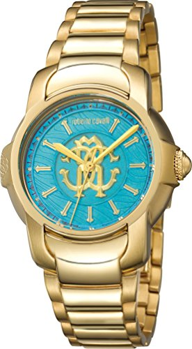 Roberto Cavalli Women's Torquoise Dial Yellow Gold IP Steel Watch RV1L007M0036