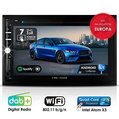 Autoradio Android CREATONE AMG-3030 | 2DIN Naviceiver | GPS Navigation (aktuelle Europa-Karten mit Radarwarnungen) | DAB+ DigitalRadio | DVD-Player | Touchscreen 7 Zoll (18cm) | USB bis 4TB l Quad-Core 64-Bit CPU Intel Atom x3 4x1,2GHz | 16GB integriert | Full HD 1920x1080 Video Unterstützung | WLAN | Bluetooth mit iOS und Android | MirrorLink | OBD 2 | RDS (Auto-radio Mit Dvd-player)
