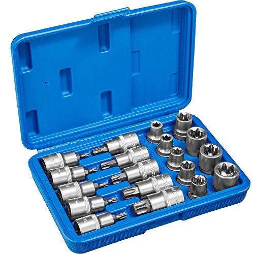 TecTake Steckschlüsselsatz Torx | Steckschlüssel mit Kodierung und Kugelfangrille| inkl. Koffer - verschiedene Modelle (Typ 2 | Nr. 402685)