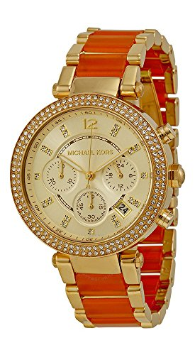 Michael Kors #MK6139 Women\'s Golden Peach Stainless Steel Crystal Accented Chronograph Watch