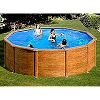 Gre KITPR353W- Piscina Sicilia desmontable redonda de acero decoración madera Ø350x120 cm