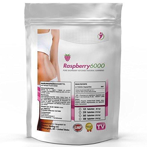 RASPBERRY 6000 | 6000 mg Tagesdosierung - 250 Tabletten Großpackung XL | Vegan + Hochdosiert | 100% Himbeere Ketone Extrakt Fatburner | + Diät Ergänzung + Stoffwechsel