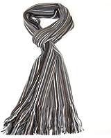 Lovarzi Men's Fine Wool Merino Scarf - Luxurious Striped Super Soft Winter Scarf for Men