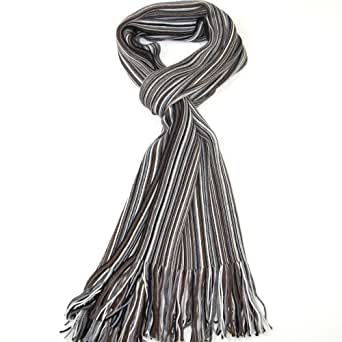 Men's Wool Scarf for Winter - Grey, Brown and Black - Men Scarves - Lovarzi Beautiful Mens Striped Long Scarfs - Christmas Gift for Men