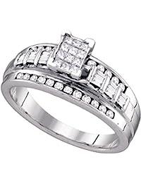 925 plata de ley corte princesa Cluster de diamante novia boda banda anillo de compromiso (