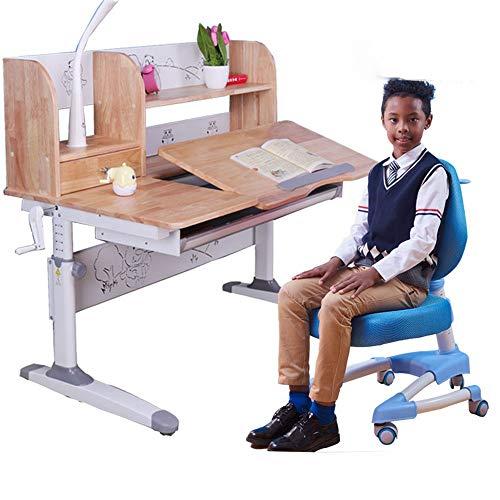 Imagen para Asiento elevador para bebé Mesa de estudio de mesa para niños Set de mesa inclinable y silla para niños Juego de mesa de madera Art Set Altura de estación de trabajo ajustable Silla de comedor silla d