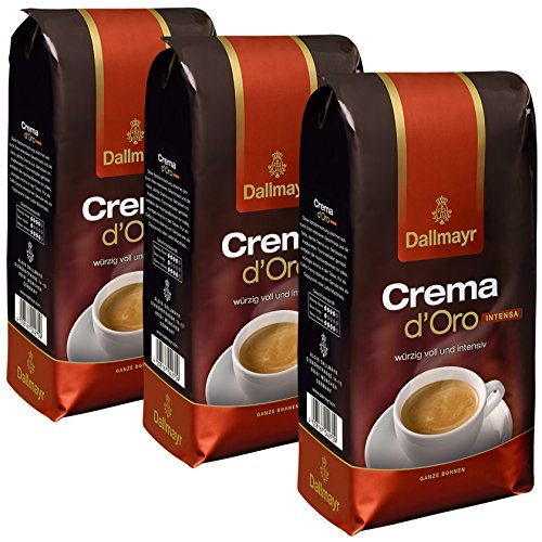 Dallmayr Crema d'Oro Intensa Kaffee, Bohnenkaffee, Röstkaffee, ganze Bohnen, Kaffeebohnen, 3 x 1000...