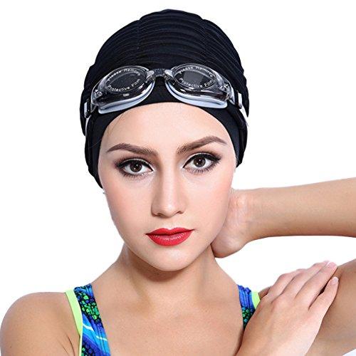 Tailloday Damen Elastisch Bademütze Wasserdicht Breathable Nylon Plissee Swim Badekappen für langes Haar (Schwarz)