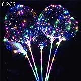LED Ballons Leuchtende Luftballons, 6 Stück 20 Zoll LED Bunte Lichterkette Bobo Helium Luftballons für Hochzeit Party Geburtstage, Jahrestag Feierlichkeiten, Weihnachten Feste Zuhause Dekoration