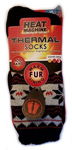 Heat Machine Herren Thermo-Socken mit warmem Fell + Inspirierende Magnet Gr. Large, Blue Snowflakes on White (Sie Rock Ziehen Seide Auf)
