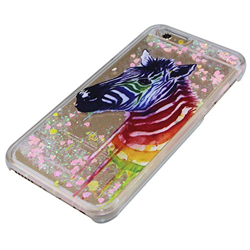 iPhone 6S Plus Coque,iPhone 6 Plus Coque,iPhone 6S Plus Case,iPhone 6 Plus Case,EMAXELERS Liquide Glitter Bling Sparkles Cute Deer Child Design Strass Case Cover Coque Housse Etui pour iPhone 6S Plus, Pink Heart Series 4