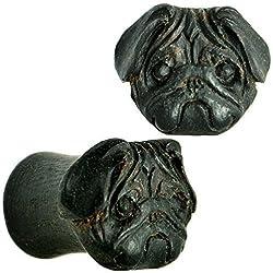 Pendientes Areng orgánica madera Flare Pug conjunto enchufe de calibre 00 tallado a mano