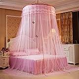 GRD, zanzariera da principessa, da sogno, zanzariera per letto a baldacchino, per letto matrimoniale, con kit per appenderla, Rosa