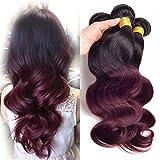 morningsilkwig 3Tissage Body Wave Perücken Damen Farbe TB/99J # noir-dark Wine Übergängen 100Gramm pro Bundle glattes Haar Perücke für Frauen