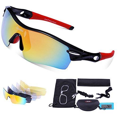 Gafas de Sol Deportivas Polarizadas,Carfia TR90 UV400 Unisex Gafas de Sol Deportivas Polarizadas a prueba de Viento 5 Lentes de Cambios Incluido para Deporte y Aire Libre Ciclismo Conducción Pesca Esquiar Golf Correr D
