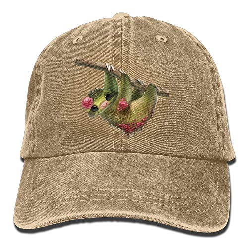 GHEDPO Cute Sloth Denim Baseball Caps Hat Adjustable Cotton Sport Strap Cap for Men ()