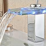 Grifo, Led de cambio de color automático termostato cocina grifo grifo caliente y fría muesca estilo cascada Grifo de vidrio