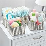 mDesign Aufbewahrungsboxen aus Stoff im 3er Set – Stoffbox in zwei Größen für Wäsche, Windeln, Tücher, Accessoires etc. – flexible Aufbewahrungskiste für den Schrank oder Schublade – taupe  - 2