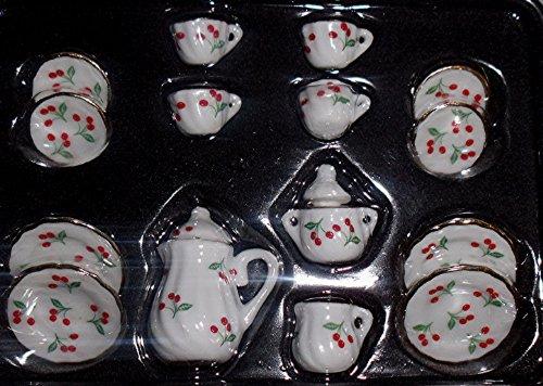 Lea Pet Puppen Kaffeeservice 15 teilig , 1:12 , Puppenstubenzubehör , Kirsche
