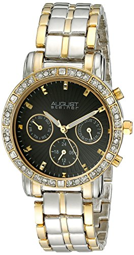 August Steiner Women's AS8041TTG Crystal Accented Swiss Quartz Multifunction Two Tone Bracelet Watch