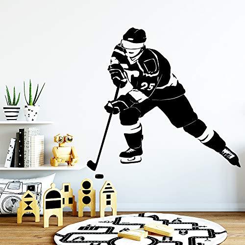 Modeganqingg Neue Eishockey Wandaufkleber Wohnzimmer Schlafzimmer Wohnkultur Zubehör Wandaufkleber Schwarz L 43 cm X 43 cm