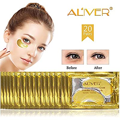 Aliver Luxury Crystal 24K Gold Gel Collagen Eye Mask, Anti Aging Anti Wrinkle with Hyaluronic Acid, Moisture Under Eyes Wrinkles Bags Dark Circles, Skincare Hydrating, Gifts for Women(20 Pairs)